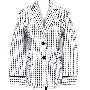 St. John Sport 2-Button Blue White Blazer Small